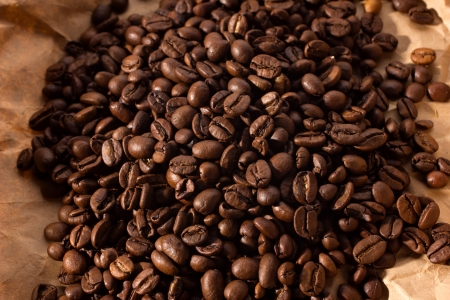 blacking: pile blacking coffee on brown paper background Stock Photo