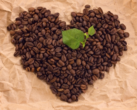 leafage: heart composed of coffee and green leafage on brown paper background Stock Photo