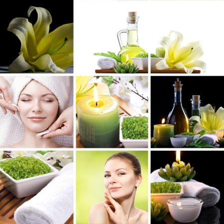 collage spa still-lifes and beautiful woman's portraits in spa themes