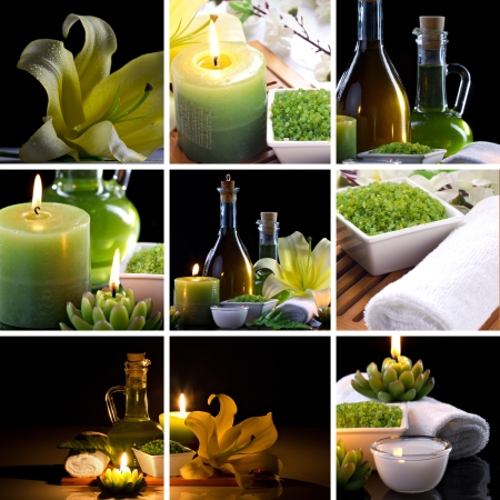 collage og spa accessories on dark background
