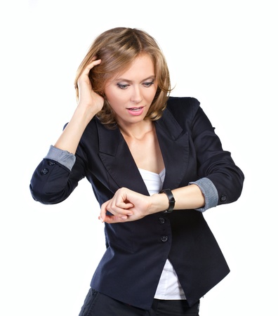 attractive business woman nervous because lack of time Stok Fotoğraf