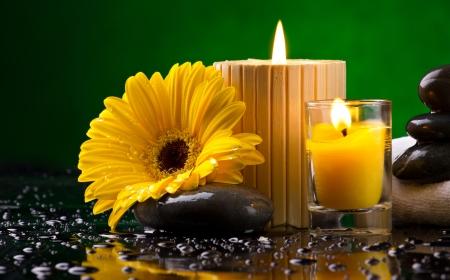 yellow stone: Spa bodeg�n con flores amarillas, velas y guijarros gota de agua sobre fondo verde