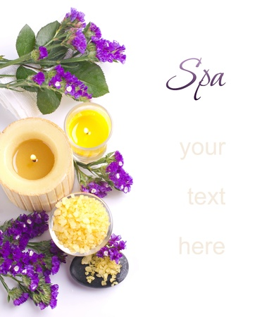 Spa still life with  flower, bath salts and candles  isolated on white Stock Photo