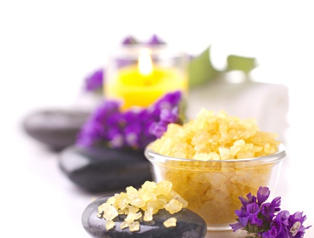 spa accessories and violet  on unfocused and white background