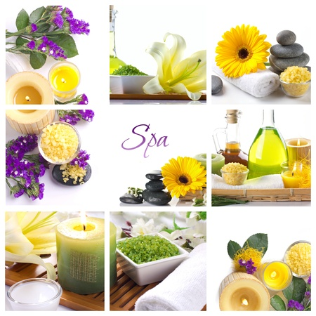 bath salts: spa collagewith flowers  in light colors  Stock Photo