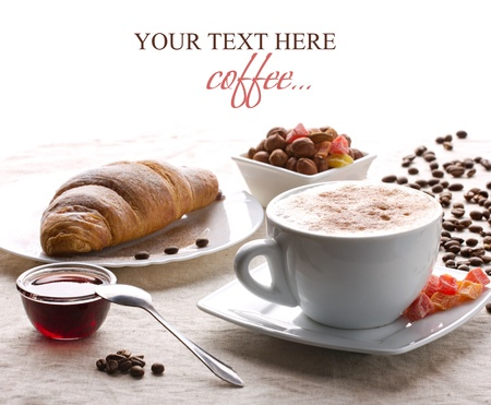 breakfast with coffee and croissant on white background