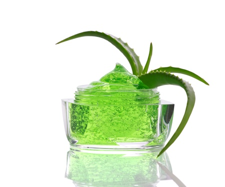 green gel with air bubbles  and aloe-vera isolated on white