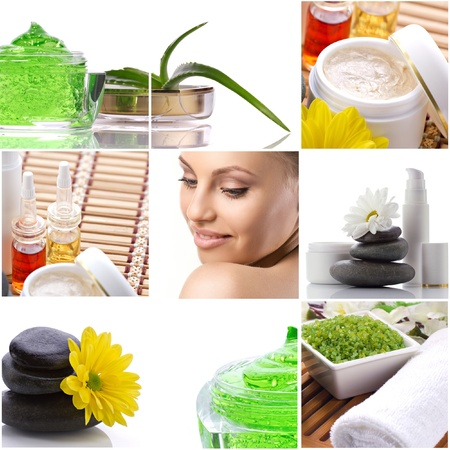 spa-collage with  cosmetics product, aloe, flowers and face of a beautiful woman on white background photo