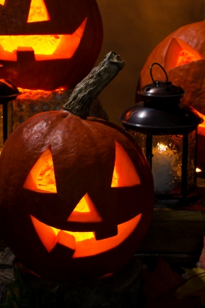 celebration,  halloween - orange pumkins with lantern, closeup photo