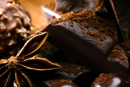 badiane: close-up badiane, chocolate snack and bonbon