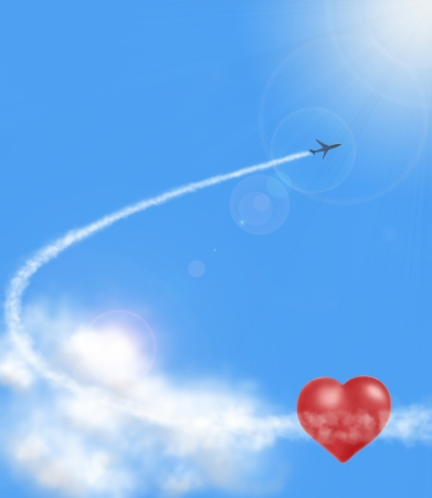 airplan: two red hearts in clouds and airplan on blue sky