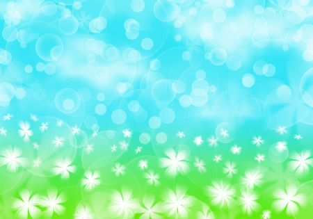 painterly effect: spring abstract background - white flower on green grass, sunny blue sky with cloud and bokeh,  illustration Stock Photo