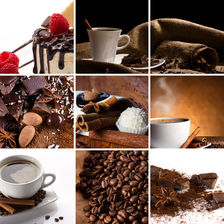 collage with coffee in cup, coffee beans, chocolate slice, candy, spices, cake with raspberry photo