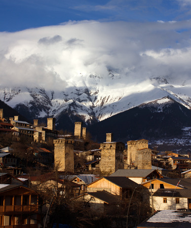 mestia: sunny svan towers in Mestia in winter. caucasus, Svaneti, Georgia