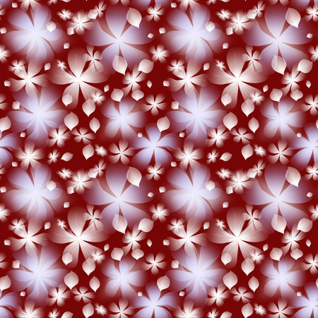 seamless with abstract  white big and little flower and leafs on dark red background photo
