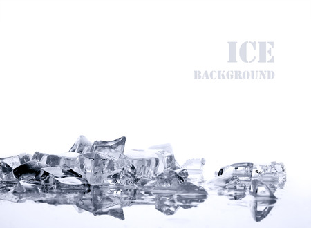 ice surface: pile of different bright ice cubes on reflection surface on  white background