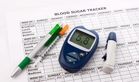 glucometer, diabetes syringe, pen and medical form on white background Standard-Bild