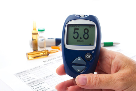 glucometer in womans  hand, displlay of glucometer showing  number 5.8, on white background arranging medical form, pen, diabetic syringe and ampoules with drugs photo