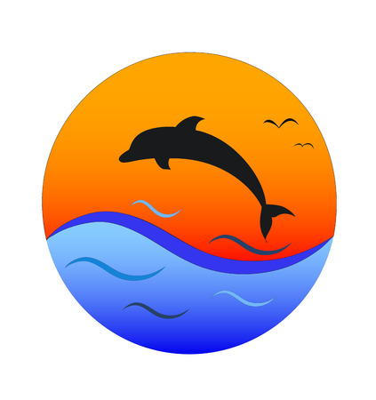 silhouette of dolphin on orange sun and blue wave background, vector illustration
