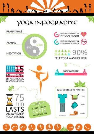 infografics map with  yoga elements on white background Vector