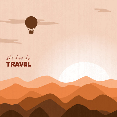 air balloon flying over mountains in sunset, retro-color monochrome Vector