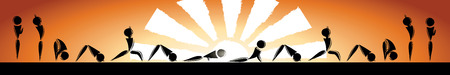pranayama: cartoon people doing yoga complex exercises sun salutation  with the sun on orange background