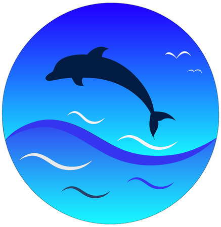 silhouette of dolphin on blue sky and blue wave background