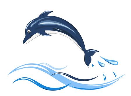 cartoon dolphin on wave on white background, vector illustration Illustration