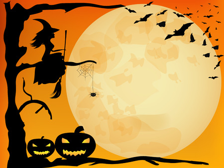 Halloween  design - witch, pumpkins, spider and bats on orange moon background Çizim