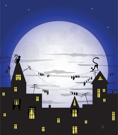 cats on house roof, bats on wires, light in windows of houses, big moon on dark blue sky Vector