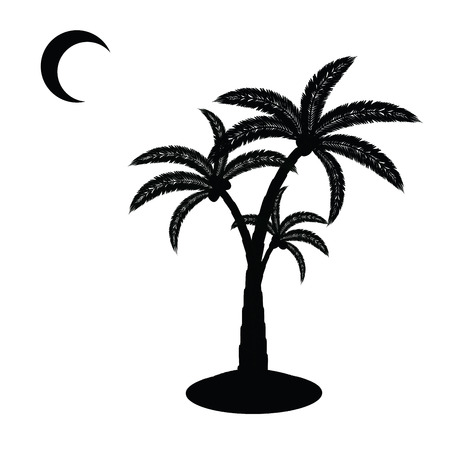 three palm trees: black little sanding island with palm tree and moon isolated on white Illustration