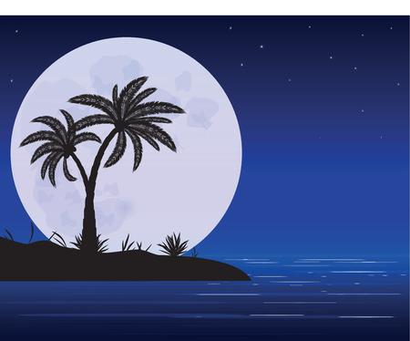 night art: sea beach with palm trees in night