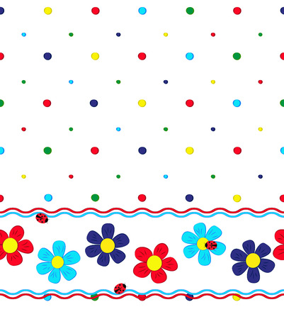 seamless pattern with cartoon flowers, bubbles, ladybugs and wavy lines on white background, vector illustration Vector