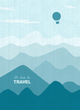 scetch: air balloon flying over mountains, scetch, monochrome  Illustration