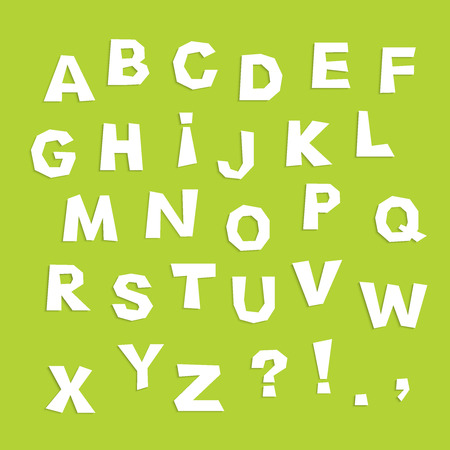 english alphabet: english alphabet, letter cutout from white paper on green background, applique,  vector illustration