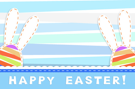 your text: two easter eggs with bunny ears on pastel colorful strips  background with place for your text, vector illustration