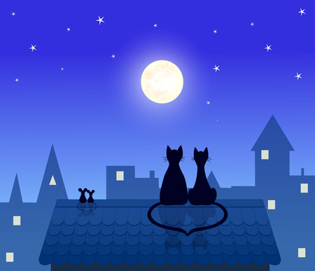 couples cats and mouses  sitting on roof and looking to moon, love  design, vector illustration