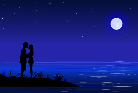 moonlight: amorous couple on sea beach, night, on blue sky - round big moon and stars, moonlight on sea, vector illustration Illustration
