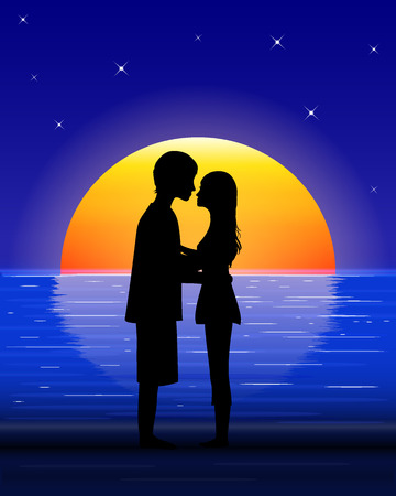 amorous: amorous young girl and youngster   on sea beach on  orange big moon background,  moonlight on sea, vector illustration