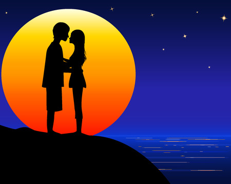 amorous: amorous young man and woman  on sea beach on  orange big moon background,  moonlight on sea, vector illustration
