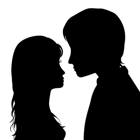 kiss couple: black silhouette of amorous couple on white background, valentines day design, vector illustration