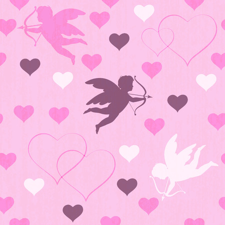 seamless with hearts and cupid on pink background, vector illustration Vector