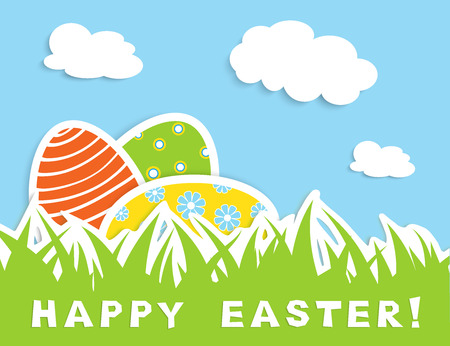 green grass and blue sky: Happy easter celebration card with tree colorful eggs in green grass, blue sky with white cloud, vector illustration