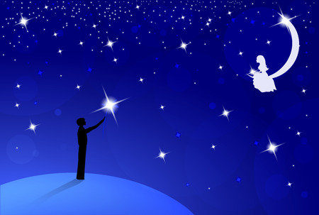 boy with big bright flower standing on earth and look to beautiful girl on moon,  dark blue sky with many bright stars, vector illustration Vector
