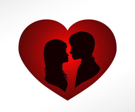 kiss couple: silhouette of amorous couple in red heart, valentines day card, vector illustration