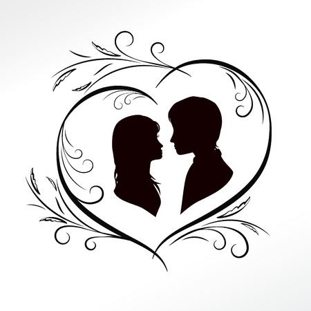 amorous: silhouette of amorous couple in retro heart, valentines day black and white card, vector illustration
