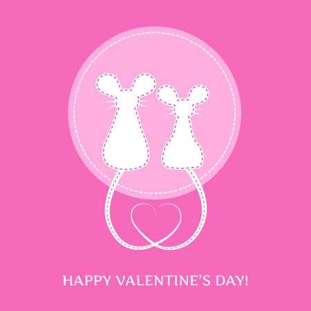 amuse: amusing valentines card - white silhouette of two amusing mouse on pink background, vector illustration