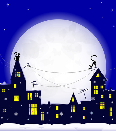snowdrift: holiday night in old town, cats on roof, christmas decoration in windows, snowflakes and  snowdrift, big moon on blue sky, vector illustration Illustration