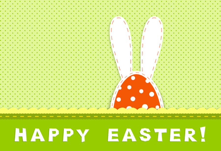 painted background: Happy easter celebration card - part of bunny with long ears on retro green and yellow background, textile applique,  vector illustration Illustration