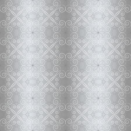 orderly: floral vintage formal seamless pattern on grey background, vector illustration